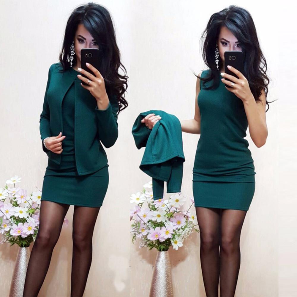 Стильное короткое платье в комплекте с жакетом /разные цвета, 42-52р, sh-015/ 52, Изумруд