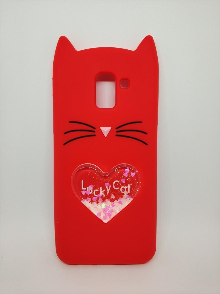 Объемный 3d чехол с блестками для Samsung J6 Galaxy J600 Усатый кот красный