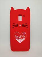 Объемный 3d чехол с блестками для Samsung J6 Galaxy J600 Усатый кот красный, фото 1