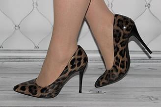 Женские леопардовые туфли на шпильке каблук 10 см