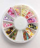 Фимо фигурки для декора ногтей в карусельке сладости