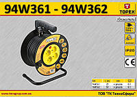 Удлинитель электрический на катушке 3х1.5мм² - 25м., TOPEX 94W351