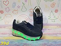 3cf6a3bdf6dbb Подростковые кроссовки ролики с лед подсветкой, детские роликовые кроссовки  светящееся подошва темно синий