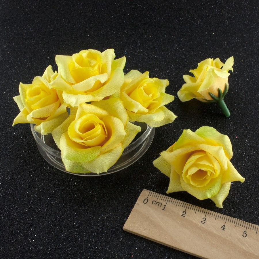 """(10шт) Головы искусственных цветов """"Роза с острыми лепестками"""" d=40мм (материал-ткань) цвет - Жёлтый"""