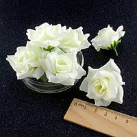 """(10шт) Головы искусственных цветов """"Роза с острыми лепестками"""" d=40мм (материал-ткань) цвет - Молочный, фото 1"""