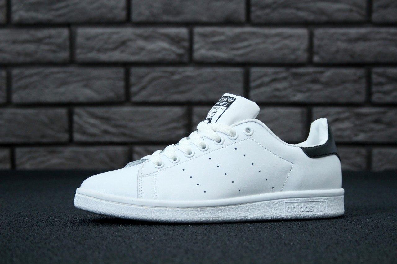 60f9e2a4 Мужские кроссовки Adidas Stan Smith Bold (в стиле Адидас) белые с черным ,  натуральная