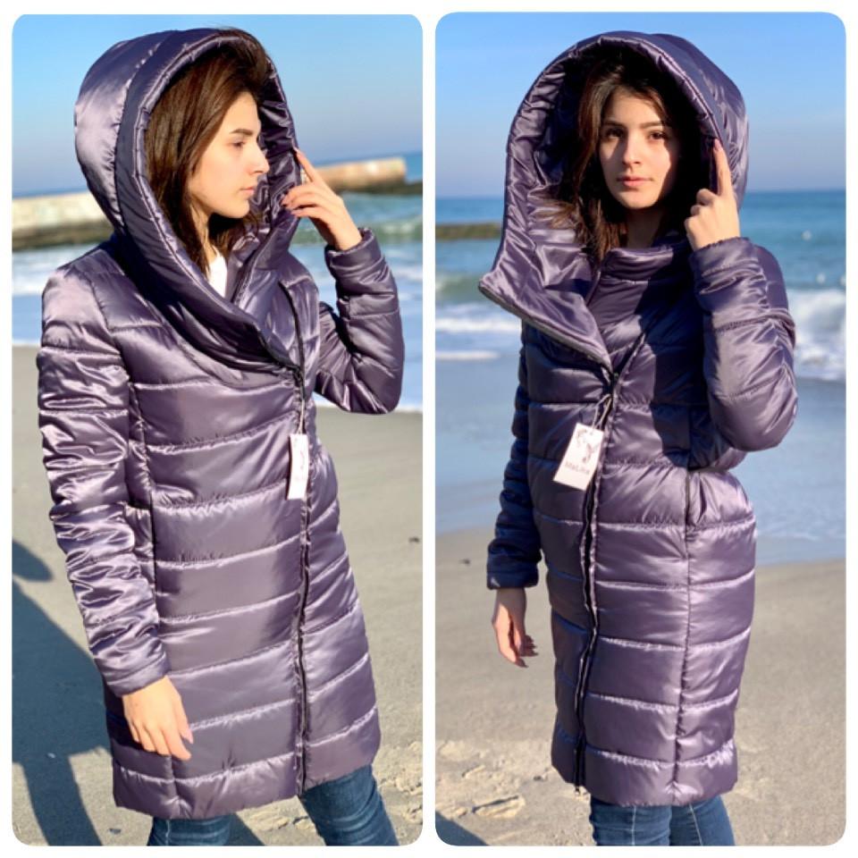 Удлиненная стильная куртка парка, арт М522, цвет аметистовый серый