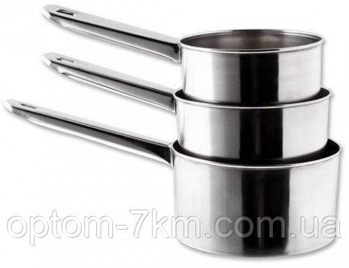 Коновки нержавіючі круглі з металевою ручкою V 1200/1000/700 мл EM-9577 ( набір 3 шт )