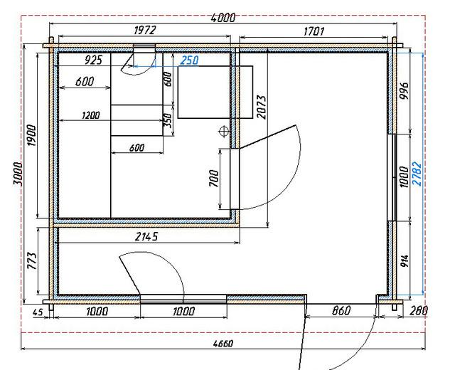 План дерев'яної лазні 4х3 фото