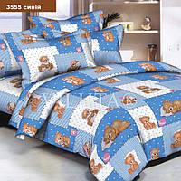 3555 голубой Комплект постельного белья детский ранфорс Вилюта, Детский (простынь 100х150, пододеяльник 105х145, наволочка 40х60)
