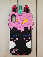 Объемный 3D силиконовый чехол My Little Pony для iphone X Черный единорог