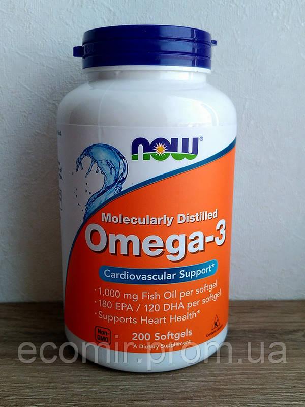 Омега-3, Now Foods (180 EPA/120 DHA, 200 капсул)