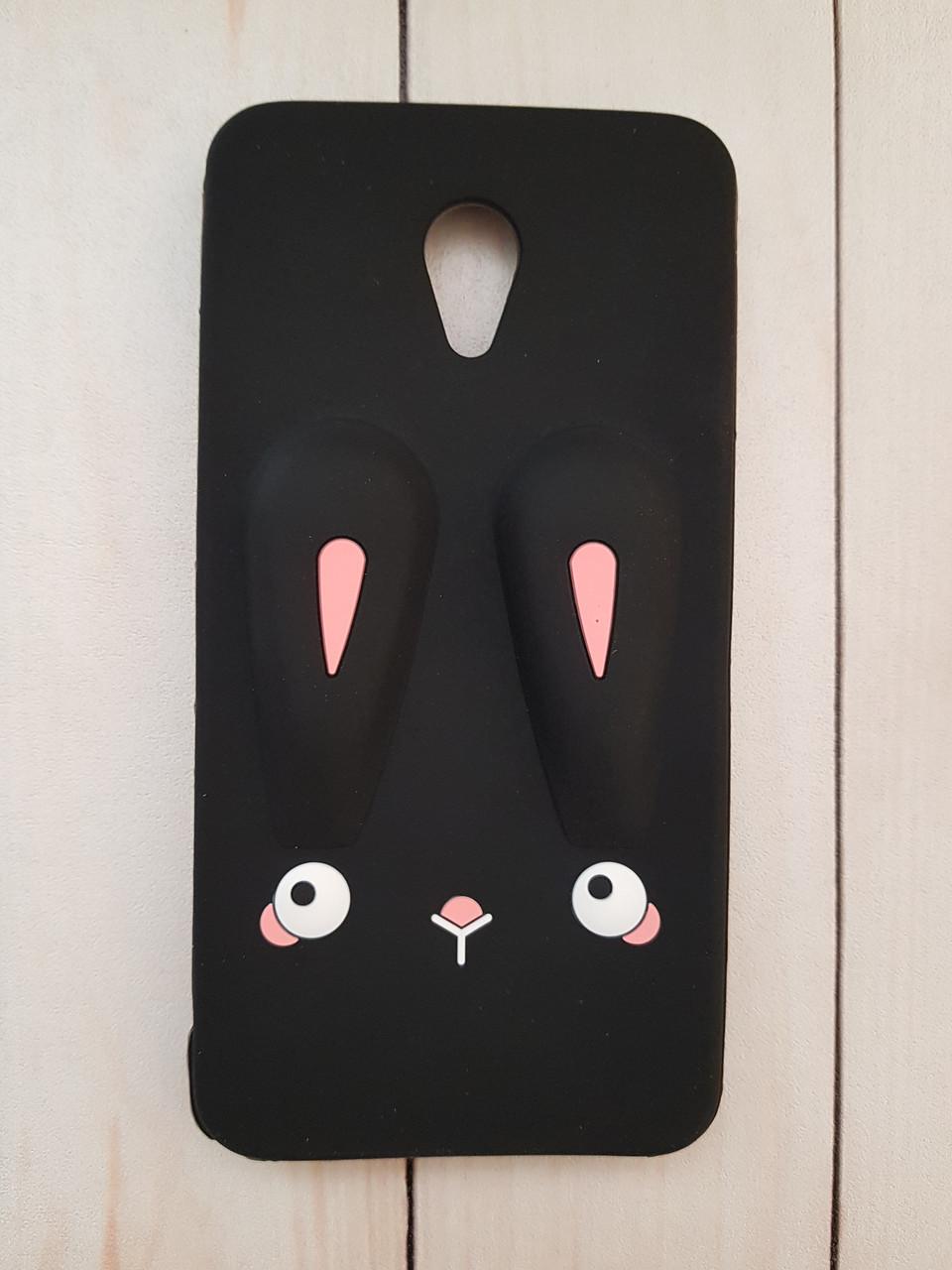 Объемный 3D силиконовый чехол для Meizu M5 Note Черный кролик