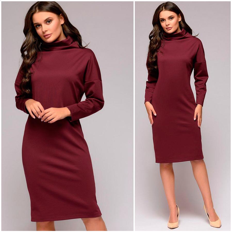 Бордовое платье-свитер Tina (Код 176) Реплика