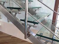 Лестница из нержавеющей стали со стеклянными ступенями