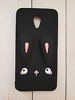 Объемный 3D силиконовый чехол для Meizu M3e Черный кролик