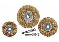 Набор щеток для дрели, 3 шт., 3 плоские, 50-63-75 мм, со шпильками, металлические MATRIX 74490