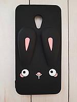 Объемный 3D силиконовый чехол для Meizu M5s Черный кролик