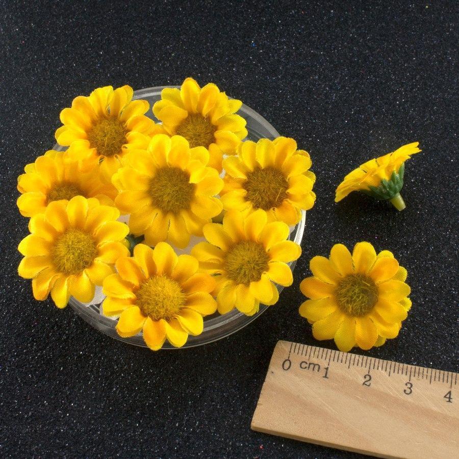 """(20шт) Головы искусственных цветов """"Ромашка ЖЁЛТАЯ"""" d=30мм (материал-ткань), фото 1"""