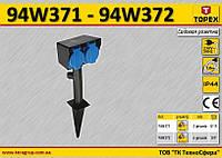 Cадовая розетка на 2 гнезда, IP44, шнур-1.8м, 3х1.0мм²,  TOPEX  94W371