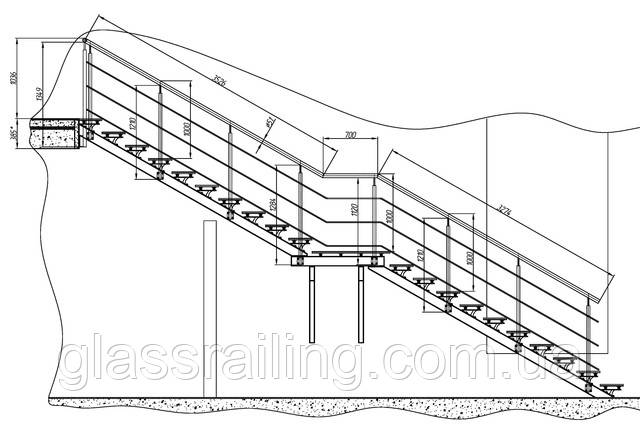 Проект огорожі сходи зі скляними сходинками