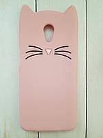 Объемный 3D силиконовый чехол для Meizu M6s Розовый усатый кот