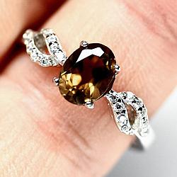 Раухтопаз дымчатый кварц, серебро 925, кольцо, 1459КЦР