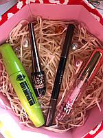 Подводка для глаз Karite + Карандаш  для бровей + Тушь Karite + Блеск оттеночный Kiss Beauty Промо набор №0024