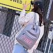 Рюкзак женский кожзам городской Pink серый, фото 4