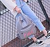 Рюкзак женский кожзам городской Pink серый, фото 5