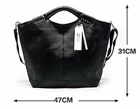 Большая кожаная женская сумка для документов на заклепках, с плечевым ремнём