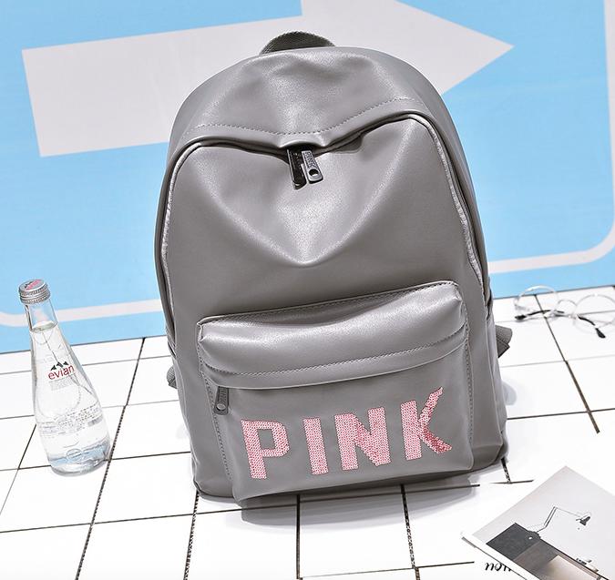 Рюкзак женский кожзам городской Pink серый