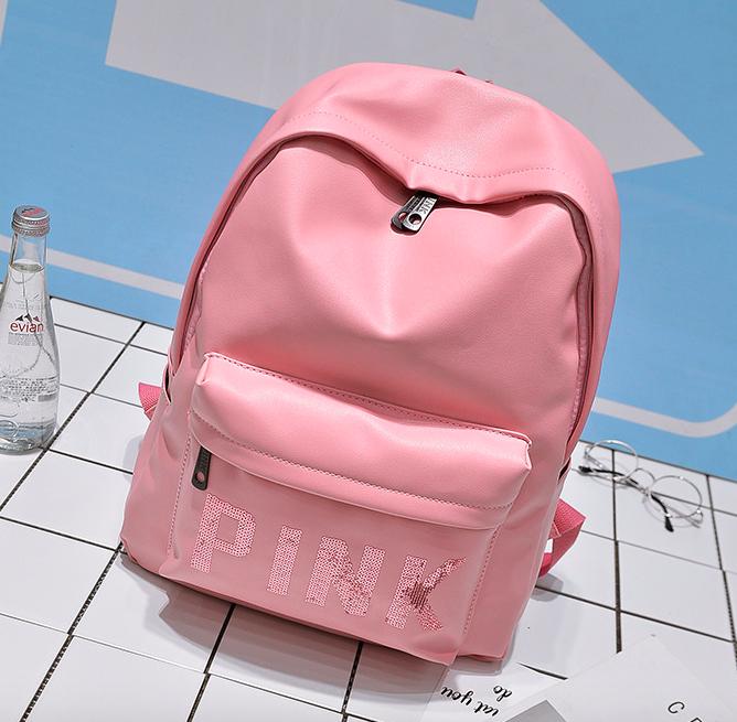 Рюкзак міський жіночий шкіряний Pink рожевий