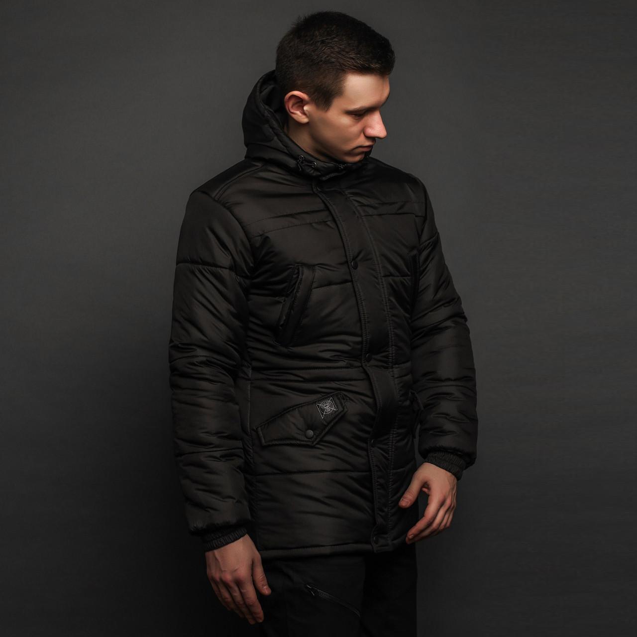 Зимова куртка парка чоловіча чорна модель Бізон (Bizon) від бренду ТУР розмір S, M, L, XL, XXL