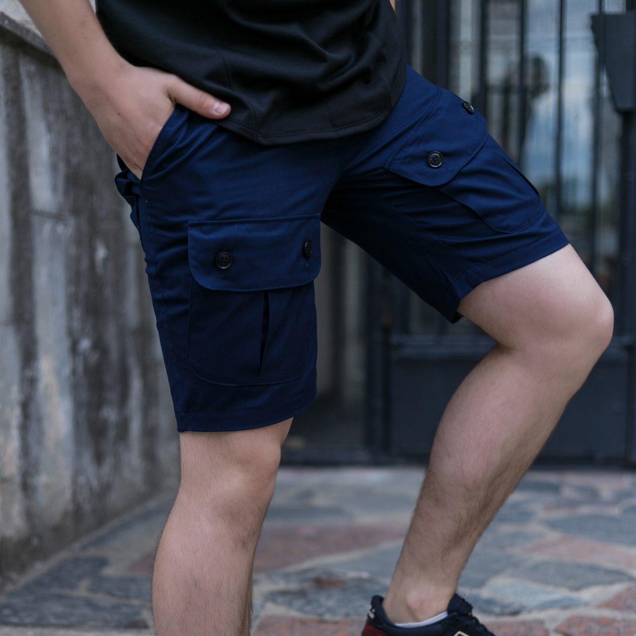 Шорти чоловічі карго темно-сині  модель Брутто (Brutto) бренд ТУР розмір S M L XL XXL