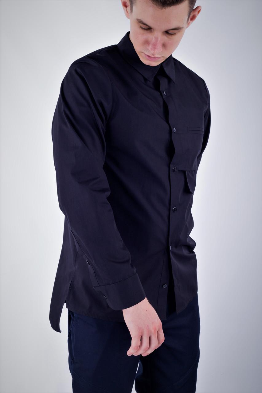 Сорочка чоловіча чорна бренд ТУР модель Шерлок (Sherlock) S M L XL
