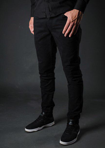 Штаны джоггеры мужские черные Стрейч (Stretch) бренд Fell and Fly размер XL
