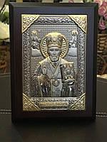 Икона в деревяной раме Святой Николай New Daniel Серебро 925