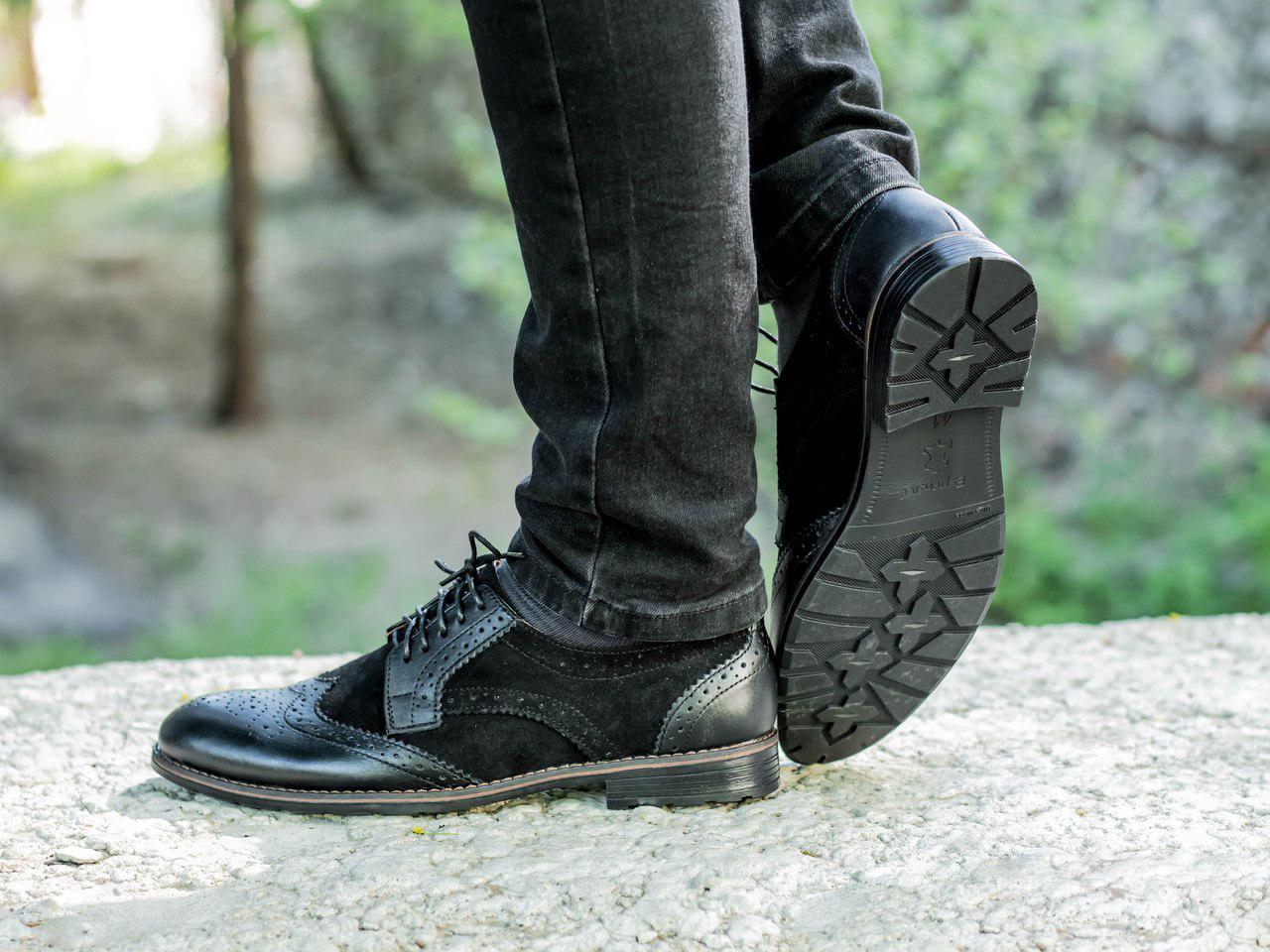 Туфлі броги чоловічі чорні шкіра та замша (Onyx) від бренду Legessy розмір 40, 41, 42, 43, 44, 45