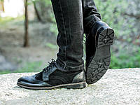 Туфли броги из замши и кожи мужские черные, фото 1