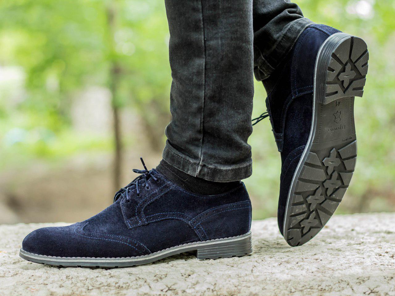 Туфлі із замші чоловічі темно-сині