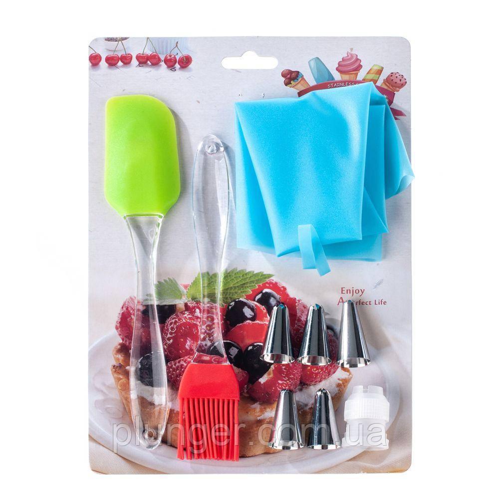 Мішок кондитерський силіконовий з насадками, лопаткою і кісточкою