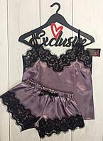 атласная пижама с черным кружевом