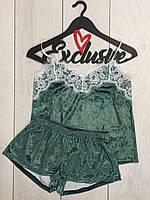 Велюровая пижама майка и шорты с кружевом ТМ Exclusive 038-изумруд.