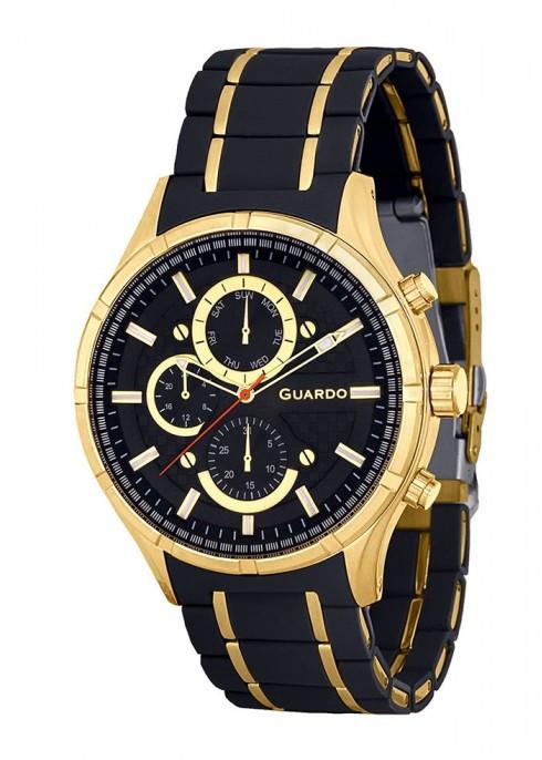 Часы Guardo PREMIUM P11531(m) GBB браслет кварц. (н.сталь+ каучук)