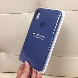 Силиконовый чехол на айфон XR цветной синий силикон