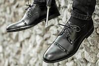 Мужские туфли классические из натуральной кожи черные, фото 1