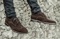 Туфлі броги чоловічі з натурального замша коричневі