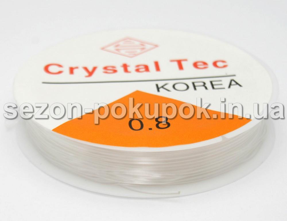 Силиконовая нить резинка (прозрачная) для бижутерии 0,8 мм  6,5 метров