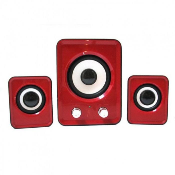 Компьютерные колонки акустика 2.1 FT-202 с сабвуфером Красные